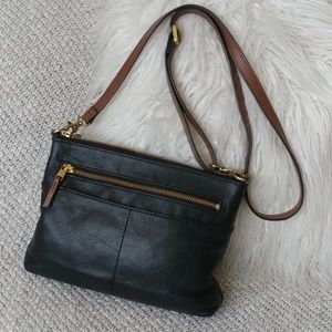 Fossil Fiona Black Leather Tan Trim Crossbody Smal